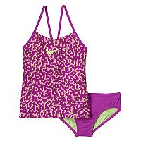 Girls 7-14 Nike Swim Leopard Tankini Swimsuit Set