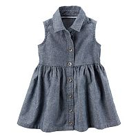 Baby Girl Carter's Button Front Chambray Denim Dress & Bloomers Set