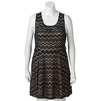 Juniors' Plus Size Candie's® Illusion Lace Skater Dress
