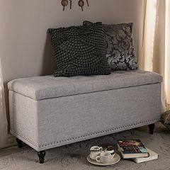 Baxton Studio Kaylee Button Tufted Storage Ottoman Bench by