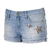 Juniors' Rampage Sophie Star Fray Hem Denim Shortie Shorts