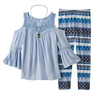 Girls 7-16 Knitworks Cold-Shoulder Bell Sleeve Top & Patterned Leggings Set with Owl Necklace