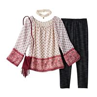 Girls 7-16 Knitworks Chiffon Printed Bell Sleeve Top & Leggings Set with Choker Necklace & Crossbody Purse
