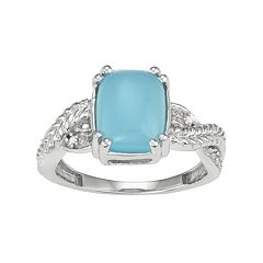 Sterling Silver Blue Chalcedony Cabochon & Diamond Accent Ring by