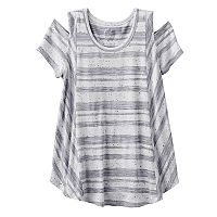 Girls 7-16 SO® Cold Shoulder Short Sleeve Curved Hem Tee