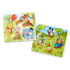 Disney's Winnie the Pooh & Mickey Mouse Jumbo Knob Puzzle Bundle by Melissa & Doug by