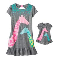 Girls 4-16 SO® Bow-Back Giraffe Dorm Nightgown & Doll Gown Set