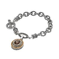 Lavish by TJM Sterling Silver Smoky Quartz Charm Toggle Bracelet
