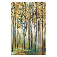 Artissimo Golden Leaves Canvas Wall Art