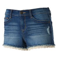Juniors' Mudd® FLX Stretch Crochet Hem Shortie Shorts