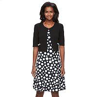 Women's Perceptions Polka-Dot Dress & Jacket Set