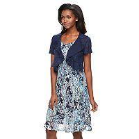 Women's Perceptions Ruffle Lace Dress & Shrug Set