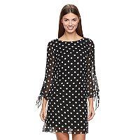 Women's MSK Chiffon Polka-Dot Shift Dress