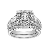 Simply Vera Vera Wang 14k White Gold 1 1/2 Carat T.W. Square Halo Engagement Ring Set