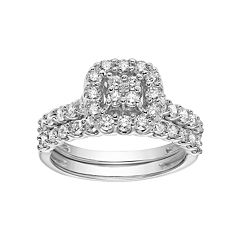 Simply Vera Vera Wang 14k White Gold 1 Carat T.W. Cluster Cushion Halo Engagement Ring Set by