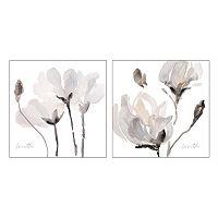 Artissimo Tonal Magnolias Canvas Wall Art 2-piece Set