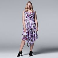 Plus Size Simply Vera Vera Wang Pleated A-Line Dress