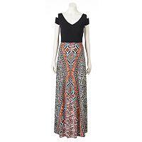 Women's Suite 7 Print Cold-Shoulder Maxi Dress