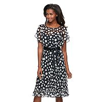 Women's Jessica Howard Polka-Dot Illusion Fit & Flare Dress