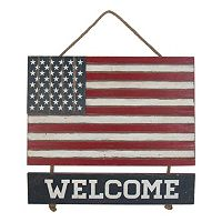 Celebrate Americana Together Wood Welcome USA Flag Wall Decor