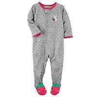 Baby Girl Carter's Polka-Dot Strawberry Footed Pajamas