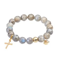 TFS Jewelry 14k Gold Over Silver Gray Labradorite & Cubic Zirconia Cross Charm Stretch Bracelet