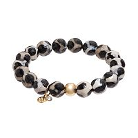 TFS Jewelry 14k Gold Over Silver Black Agate Bead Stretch Bracelet