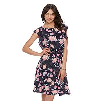 Women's ELLE™ Printed Flutter Fit & Flare Dress