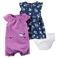 Baby Girl Carter's Floral Dress & Polka-Dot Sunsuit Set