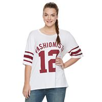 Juniors' Plus Size Starlet Football Graphic Tee