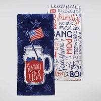 Celebrate Americana Together Mason Jar Kitchen Towel 2-pk.
