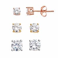 PRIMROSE Tri Tone Sterling Silver Cubic Zirconia Stud Earring Set