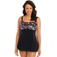 Women's Great Lengths Hip Minimizer Floral Pleated Swimdress
