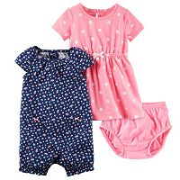 Baby Girl Carter's Floral Sunsuit & Polka-Dot Dress Set