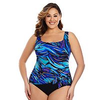 Plus Size Great Lengths Tummy Slimmer Wavy One-Piece Swimsuit