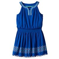 Girls 7-16 My Michelle Print Border Pom-Pom Trim Dress