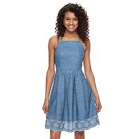 Juniors' SO® Fit & Flare Denim Dress