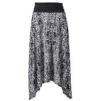 Women's AB Studio Print Shark-Bite Midi Skirt