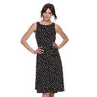 Women's ELLE™ Pleated Polka-Dot A-Line Dress
