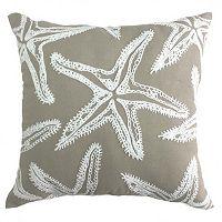 Coastal Starfish Embroidered Throw Pillow