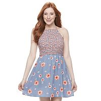 Juniors' Trixxi Floral Smocked Skater Dress