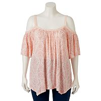 Juniors' Plus Size Mudd® Crochet Off Shoulder Top