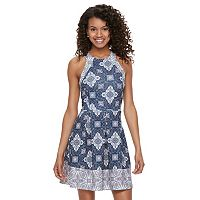Juniors' Rewind Texture Open Back Skater Dress