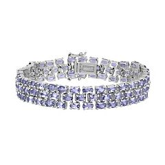 Sterling Silver Tanzanite Multirow Bracelet by