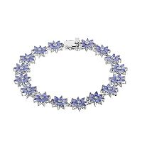 Sterling Silver Tanzanite & White Topaz Flower Bracelet