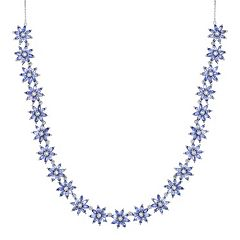Sterling Silver Tanzanite & White Topaz Flower Necklace by