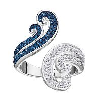 Silver Luxuries Crystal Swirl Open Ring
