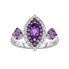 Sterling Silver Amethyst & White Zircon Marquise Ring by