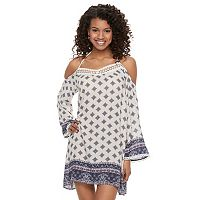 Juniors' Rewind Mosaic Cold-Shoulder Shift Dress