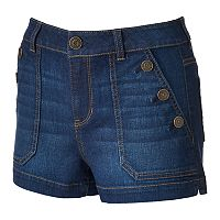 Juniors' SO® Button Pocket Jean Shortie Shorts